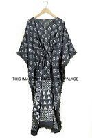 Hand Block Print 100% cotton Kaftan Maxi Hippie Dress Boho Size 16 20 22 24 26