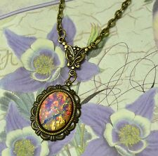 Pink Fire Glass Opal Antique Gold Victorian Art Deco Pendant Necklace