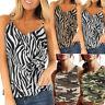 Women Zebra Print Camouflage Tank Tops Sleeveless Lady Vest Short Blouse Tops CL
