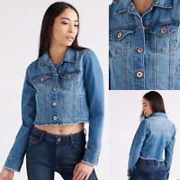 🦋Women's Fray Hem Premium Denim Jacket 🦋Size Medium 🔥HOT ITEM🔥