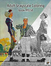 Adult Coloring Book (24 pags) Sport Football Norman Rockwell FLONZ grayscale 058