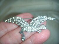 VINTAGE DIAMOND PASTE RHINESTONE CRYSTAL Romantic BIRD HEART BROOCH for GIFT