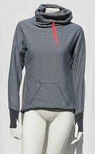 MPG MONDETTA Gray Stripe Stretch Funnel Thumbholes Pullover Shirt Top size S