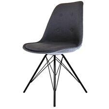 Fusion Living Eiffel Inspired Dark Grey Fabric Dining Chair - Various Leg Bases