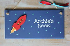 Personalised Space Rocket Bedroom Door Plaque Boy Girl Glitter *FREE GIFT WRAP*