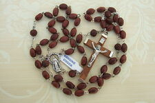 Catholic Rosary GENUINE COCOA Wood DK BROWN 5x7mm beads Miraculous Medal center