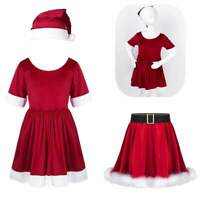 Girls Santa Christmas Skirts Child Xmas Dress Set Holiday Party Cosplay Costume