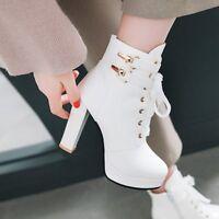 Women Block Heels Platform Lace up Ankle Boots Buckle Strap Ladies Casual Shoes