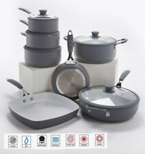 7 Piece Professional Grey Cookware Set - Non Stick -Silicon Handles -INDUCTION