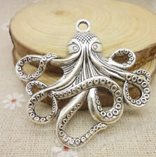 10PCS 55x56MM Antique Silver Octopus Fish Charms Connector pendant DIY Jewelry