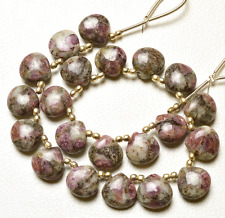 """Natural RUBY ZOISITE  SMOOTH HEART SHAPE BEADS Briolette 12 MM 9 """""""