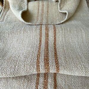 Organic fabric hemp Antique French Grainsack Linen  HEAVY twill caramel