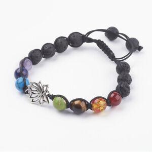 Chakra Bracelet 7 Crystals Lava Stone Bead Reiki Heal Lotus Adjustable 8mm UK