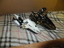 LOT OF 2 POWER RANGER DINO MOTORCYCLE BLACK AND WHITE W/BLACK RANGER