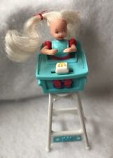 1998 McDonald's Happy Meal Mattel Barbie Kelly Doll White Blue Highchair Toy