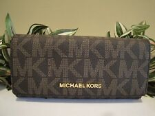 MICHAEL KORS JET SET TRAVEL CARRYALL WALLET BAG BROWN PVC SIGNATURE LEATHER $168