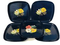 Rare Set Of 5 Western Airlines Couroc Is Unique Plate Floral Designs Brass Inlay