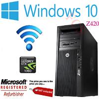 HP Z420 Workstation PC Xeon E5-1620 3.60GHz 32GB RAM GTX 1060 6GB Win 10 Pro