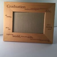 "LASER ETCHED GRADUATION THEMED WOOD  PHOTO FRAME For 4""x 6""  9.25"" x 7.25"" NEW"
