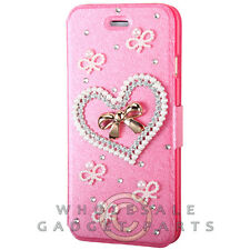 Apple iPhone 6/6s Jewel Wallet Pouch Hot Pink Silk Texture with Heart  Guard