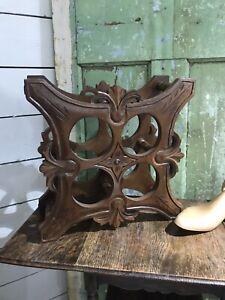 OLD Vintage CARVED Ornate WOOD Wine Rack  4 Bottle Holder