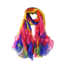 Extra Long and Wide Chiffon Scarf Beach Scarf Blue and Pink CHD321
