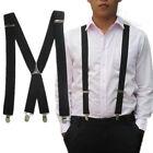 New Men Elastic Suspenders Leather Braces X-back Adjustable Clip-on 4 Colors