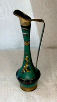 Vintage ISRAEL hand painted enameled patina vase gold tone accents w figure