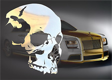 CHROME Skull Decal Sticker for Macbook iPad Laptop Motorcycle JDM Car 4x4 Truck