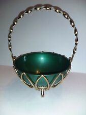 Mid Century Modern Candy Dish Peoria Plastics Metal Basket Gold Tone Green Bowl