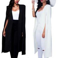 Women Blazer Cape Long Coat Jacketd Suit Shawl Cloak Cardigan Business Outwear