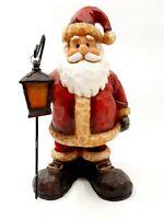 "Charming Resin Santa Figurine w/ Bobble Spring Legs & Lantern 6.5"" Tall Figure"