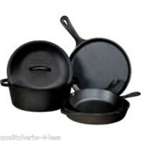 Lodge 5 Pc Cast Iron Pre Seasoned Cookware Set Dutch Oven Pot Lid Pans USA Made