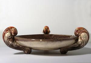 Große Keramikschale auf 3 Füßen Fußschale Obstschale gemarkt 231/5  Art Deco