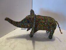 """Sculpture Elephant Beaded Wire Multicolored glass Beads Art 13"""" long x 7 ¼"""" tall"""