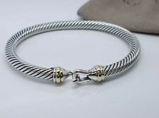 David Yurman Sterling Silver 18K Gold 5mm Cable Classic Buckle Hook Bracelet