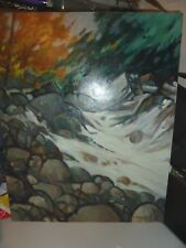 """G. Ralph Smith Large Vintage Oil Painting """"New England Rocks"""" 1970's"""