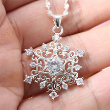 925 Silver White Topaz Hollow-out Flower Pendant Chain Choker Necklace 24inches