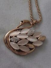 BRONZE TONE SWAN PENDANT W/ PINK LUCITE & RHINESTONE FEATHERS & CHAIN NECKLACE