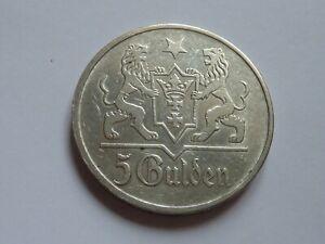 Pologne - Gdansk. Ville libre 5 gulden 1923.
