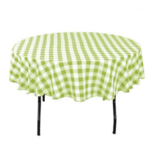 """Tablecloth Round Checkered 60"""" Polyester By Broward Linens (Variety of Colors)"""