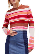 Free People OB674439 Show Off Your Stripes Long Sleeve Sweater Scarlet Combo Med