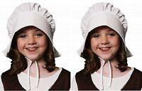 New Girls Kids Children Tudor Victorian White Bonnet Hat Fancy Dress Costume