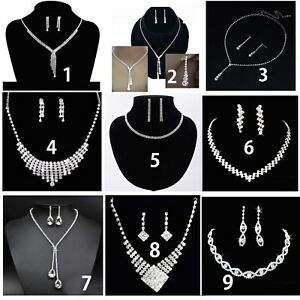 Crystal Diamante Wedding Bridal Prom Party Necklace Earrings Jewellery Set Gift