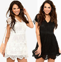 Ladies Ivory or Black Dress Size 8 - 14 Pearl Buttons and Lace - 2 Lengths