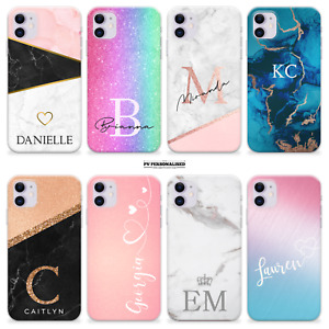 PERSONALISED PHONE CASE NAME MARBLE SILICONE COVER FOR APPLE IPHONE 12 XR 811 8