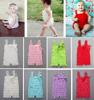 Infant Baby Newborn Girls Short Lace Ruffle Jumpsuit Romper Clothing Outfit