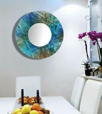 Jon Allen Metal Art Wall Mounted Mirror Round Modern Abstract Blue & Green Decor
