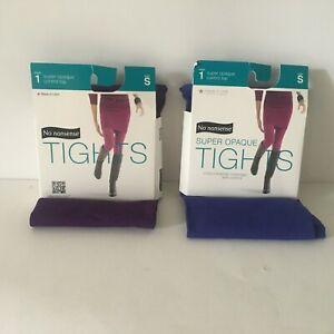 Lot of 2 No Nonsense Womens Tights Blue/Purple Control Top Super Opaque Sz S NIP
