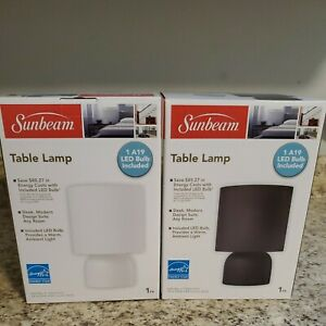 New Sunbeam White Table Lamp Light W/ A19 LED Bulb Included!